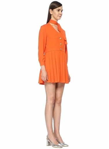 Sister Jane V Yaka Taşlı Pileli Mini Elbise Oranj
